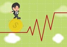 Biznesowego mężczyzna spaceru gimnastyk Ryzykowny rynek papierów wartościowych royalty ilustracja