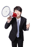 Biznesowego mężczyzna szczęśliwy rozkrzyczany megafon Fotografia Stock