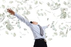 Biznesowego mężczyzna uściśnięcia pieniądze Obrazy Stock