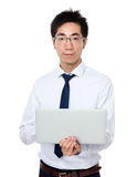 Biznesowego mężczyzna use notebook Fotografia Stock