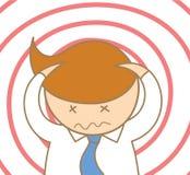 Biznesowego mężczyzna wprawiać w zakłopotanie i migrena ilustracja wektor