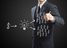 Biznesowego mężczyzna writing inwestyci pojęcie Obraz Stock