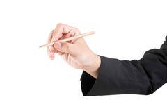 Biznesowego mężczyzna writing odizolowywający na bielu Obrazy Royalty Free