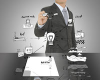 Biznesowego mężczyzna writing pojęcie papier tworzy pomysł dla teraźniejszości Obrazy Royalty Free
