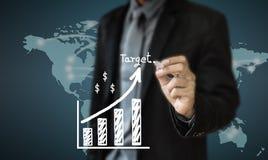 Biznesowego mężczyzna writing pojęcie rozwój biznesu ulepsza zdjęcie stock