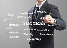 Biznesowego mężczyzna writing sukces Obrazy Stock