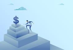 Biznesowego mężczyzna Wspinaczkowi schodki Dolarowego znaka finanse sukcesu Wzrostowy pojęcie ilustracja wektor
