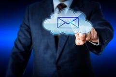 Biznesowego mężczyzna Wzruszający email W błękit chmury ikonie Fotografia Royalty Free