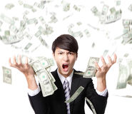 Biznesowego mężczyzna złość krzyczy z pieniądze deszczem Zdjęcia Royalty Free