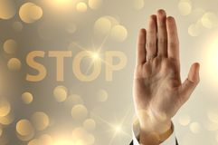 Biznesowego mężczyzny przerwy ręki znak zdjęcie stock