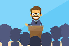 Biznesowego mężczyzna trybuny mowy grupy ludzie Obrazy Stock
