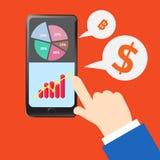 Biznesowego mobilnego smartphone online związek ilustracji