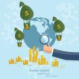 Biznesowego pojęcia monetarnego systemu globalny kontrolny deponować pieniądze Obrazy Royalty Free