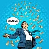 Biznesowego pojęcie sukcesu biznesmena latający pieniądze ilustracji