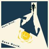 Biznesowego pomysł serii otwartego umysłu Otwarty Światowy pojęcie Fotografia Stock