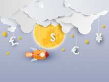 Biznesowego projekta pojęcia Z rakietami i chmurami Zdjęcie Royalty Free