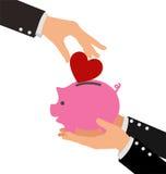 Biznesowego ręki kładzenia Czerwony serce w prosiątko banka ilustracja wektor