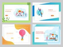 Biznesowego rozpoczęcia Kreatywnie pomysł Ląduje strona szablon Akcydensowego polowania Rekrutacyjny pojęcie z charakterami Pracu ilustracja wektor