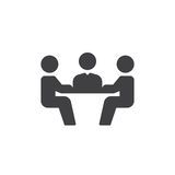 Biznesowego spotkania ikony wektor, wypełniający mieszkanie znak, stały piktogram odizolowywający na bielu Symbol, logo ilustracj Zdjęcie Stock