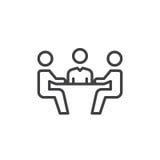 Biznesowego spotkania linii ikona, konturu wektoru znak, liniowy stylowy piktogram odizolowywający na bielu Symbol, logo ilustrac Zdjęcia Stock
