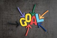 Biznesowego sukcesu cel lub celu pojęcie, kolorowy drewniany alphab Zdjęcia Stock