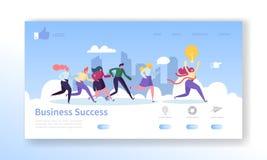 Biznesowego sukcesu lądowania strony szablon Strona internetowa układ z Płaskimi ludźmi charakterów Biega koniec przewodnictwo ilustracji