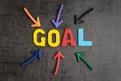 Biznesowego sukcesu strategii celów pojęcie, kolorowy drewniany alphabe Obrazy Stock