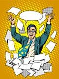 Biznesowego sukcesu szczęśliwy biznesmen wśród ilustracji