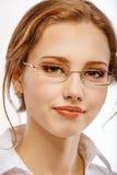 biznesowego szkieł portreta uśmiechnięta kobieta Fotografia Royalty Free