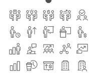 Biznesowego UI piksla wektoru Perfect Wykonywać ręcznie Cienkie Kreskowe ikony 48x48 Przygotowywać dla 24x24 siatki dla sieci gra Zdjęcie Royalty Free