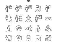 Biznesowego UI piksla wektoru Perfect Wykonywać ręcznie Cienkie Kreskowe ikony 48x48 Przygotowywać dla 24x24 siatki dla sieci gra Obraz Stock