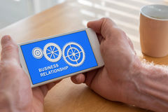 Biznesowego związku pojęcie na smartphone fotografia royalty free