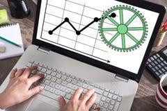 Biznesowej analizy pojęcie na laptopu ekranie fotografia stock