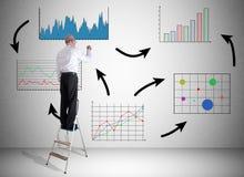 Biznesowej analizy pojęcie rysujący mężczyzna na drabinie Obrazy Stock