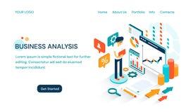 Biznesowej analizy strony internetowej szablonu projekt z przestrzenią dla teksta i kreskówka biznesmenem robi prezentacji royalty ilustracja
