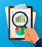 Biznesowej analizy symbol z powiększać - szklana ikona i mapa Obrazy Stock