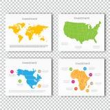Biznesowej inwestyci obruszenia set usa, Północna Ameryka, Afryka mapy prezentaci obruszenia szablon, Biznesowy układu projekt Fotografia Royalty Free