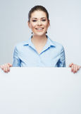 Biznesowej kobiety blanc biały sztandar, grępluje odosobnionego pracownianego portret zdjęcia royalty free