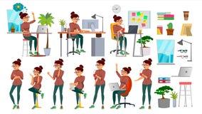 Biznesowej kobiety charakter - ustalony wektor Pracujący ludzi ustawiający Biuro, Kreatywnie studio Żeńska Biznesowa sytuacja dzi Obrazy Stock