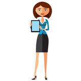 Biznesowej kobiety charakter z pastylką Przyjemnie uśmiechać się biznesowej dziewczyny wektor Obrazy Royalty Free