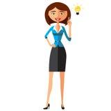 Biznesowej kobiety charakteru wektor Rozochocony uśmiechnięty biznesowej kobiety charakter z żarówką Rozwiązywanie problemów, pom Zdjęcia Royalty Free
