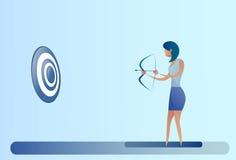 Biznesowej kobiety chwyta łęku cel Archer Dostaje Bramkowego pojęcie Fotografia Stock