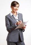 Biznesowej kobiety chwyta papier Isolared bielu tło Obraz Royalty Free