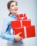 Biznesowej kobiety chwyta prezenta pudełko w bożych narodzeniach barwi stylowego, studio p Obrazy Royalty Free