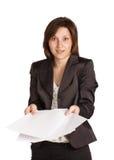 Biznesowej kobiety dziewczyna zaskakuje z papierami   obraz stock