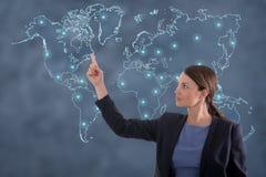 Biznesowej kobiety globalizacja pojęcie Zdjęcia Royalty Free