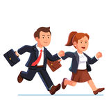 Biznesowej kobiety i mężczyzna bieg post wpólnie ilustracja wektor