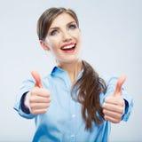 Biznesowej kobiety kciuka przedstawienie Obraz Stock