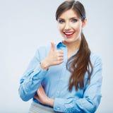 Biznesowej kobiety kciuka przedstawienie Zdjęcie Stock