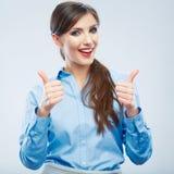 Biznesowej kobiety kciuka przedstawienie Zdjęcie Royalty Free